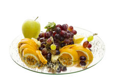 Fruit tray. Holiday dessert of fruit. professional serving tray in a restaurant stock images