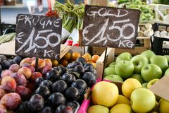 Fruit tray, price tags. Street market Stock Images