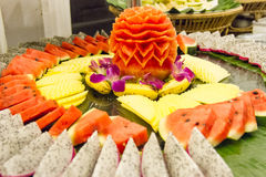 Fruit on a tray. At restaurant Royalty Free Stock Photography