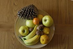 Fruit tray seen from above stock photos