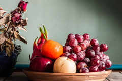 Fruit tray on the table. Royalty Free Stock Images