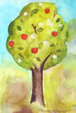 Fruit tree. With flowers and fruit Royalty Free Stock Photo