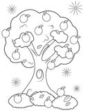 Fruit tree coloring page stock illustration