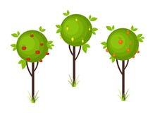 Fruit tree icons Stock Photography