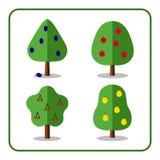 Fruit tree icons set 3 Royalty Free Stock Images