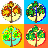 Fruit trees with fruits. On a colorful background Royalty Free Stock Photo