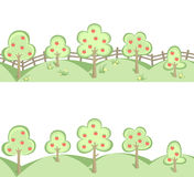 Fruit trees in horizontal seamless border Royalty Free Stock Image