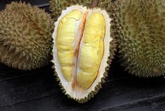 Fruit, tropical, Durian, King of tropical fruit. Durian, King of tropical fruit, Close up of peeled durian stock photo