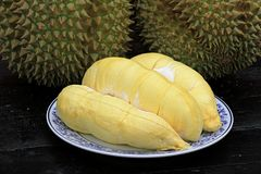 Fruit, tropical, Durian, King of tropical fruit. Durian, King of tropical fruit, Close up of peeled durian royalty free stock image