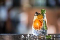 Fruit tropical frais de cocktailwith tonique de genièvre sur le compteur de barre dans le chiot ou le restaurant photographie stock