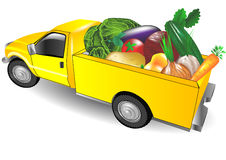 Fruit truck. With multicolored vegetsbles on white background Royalty Free Stock Image