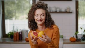 Fruit used as funny eyes stock footage