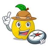Fruit van de ontdekkingsreiziger het rijpe gele kweepeer op mascotte stock illustratie