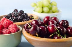 Fruit Varieties Separated into Bowls Royalty Free Stock Images