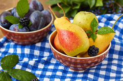 Fruit variety. Fruit variety in a bowls.Pears, plums and blackberries Stock Photos