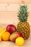 Fruit variety on wood. Stock Image