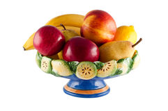 Fruit in vase isolated. Stock Photos