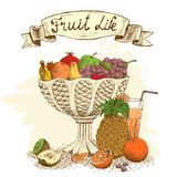 Fruit Vase With Fresh Juice Still Life Royalty Free Stock Image