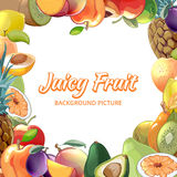 Fruit vector abstract background. Frame tropical food, apricot and kiwi, pineapple and avocado, peach and apple illustration royalty free illustration