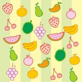 Fruit Vector Background. Cute background made from cute fruit vector Stock Illustration