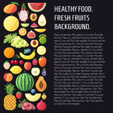 Fruit vector background with place for your text. Modern flat design. Healthy food background. Stock Photos