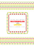 Fruit vector brushes with corner tiles. Watermelon and lemon. Stock Image