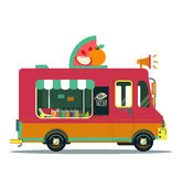 Fruit vector car illustration. Vegan flat vitamin food Royalty Free Stock Images