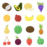 Fruit 16 vector icons set in cartoon style. Royalty Free Stock Photography