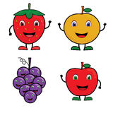 Fruit Vector Illustration. Fruit catoon with  happy expression, Fruit character Royalty Free Stock Images