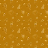 Fruit vector seamless pattern. Dark yellow. Stock Images