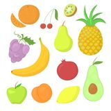 Fruit vector set. Set of hand-drawn ripe fruit, without contour icons vector illustration