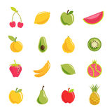 Fruit vector set. Vector set of 16 fruit icons. Each fruit included different layer in EPS file royalty free illustration