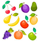 Fruit vector set isolated on white. Pear, banana grapes, peach, avocado and apricot. Sweet fruits illustration royalty free illustration