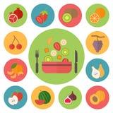 Fruit vectorpictogrammen, voedsel dat voor het koken wordt geplaatst, Stock Afbeeldingen
