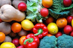 Fruit and veg. A variety of fruit and veg; oranges, lemons, plums, broccoli, potatoes Stock Photography