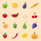 Fruit & Veg Cutouts. Colourful fruit and veg icon stickers. Easy to remove white outline and shadow and use icons without Royalty Free Stock Image