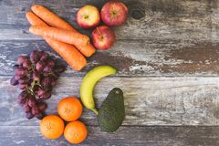 Fruit Veg Flat Lay with Copy Space stock images