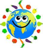 Fruit and veg globe. Cartoon world globe surrounded by fruit and vegetables Stock Images