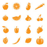 Fruit & Veg Icons. 16 fruit and vegetable icons. Easy to change colour Stock Image