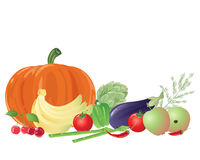 Fruit and veg. An illustration of a group of colorful fruit and vegetables including pumpkin artichoke and egg plant on a white background Stock Photography
