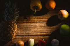 Fruit and veg laid out on table Stock Image