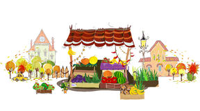 Fruit and Veg shop on the city street. Illustration Stock Photos