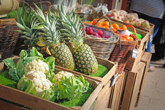 Fruit and veg stall market. Photo of delicious fruit and veg being sold at market stall Stock Images