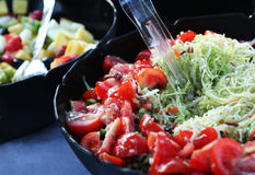 Fruit and vegatable salads. Fruit and vegetable salads for picnic Royalty Free Stock Photo