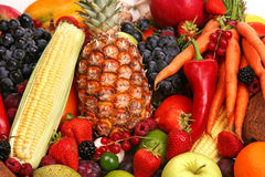 Fruit and vegetable. Small display of fresh vegetable and fruit Royalty Free Stock Photo
