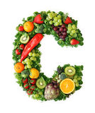 Fruit and vegetable alphabet. Letter C Royalty Free Stock Images
