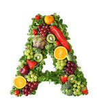 Fruit and vegetable alphabet. Letter A Royalty Free Stock Image
