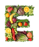Fruit and vegetable alphabet. Letter E Royalty Free Stock Images