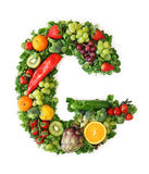 Fruit and vegetable alphabet. Letter G Royalty Free Stock Photos