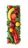 Fruit and vegetable alphabet. Letter I Stock Image
